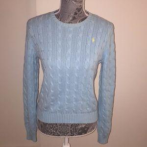 Ralph Lauren Cable Knit Sweater Aqua Blue Medium